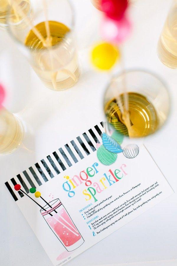 Tarjeta de la receta de cóctel para imprimir gratis
