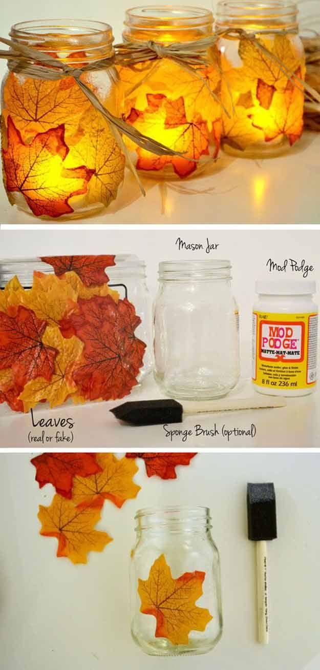 Hoja de la caída Mason Jar Candle Holder | 17 de bricolaje de Acción de Gracias Manualidades para adultos, ver más a http://artesaniasdebricolaje.ru/amazingly-falltastic-thanksgiving-crafts-for-adults