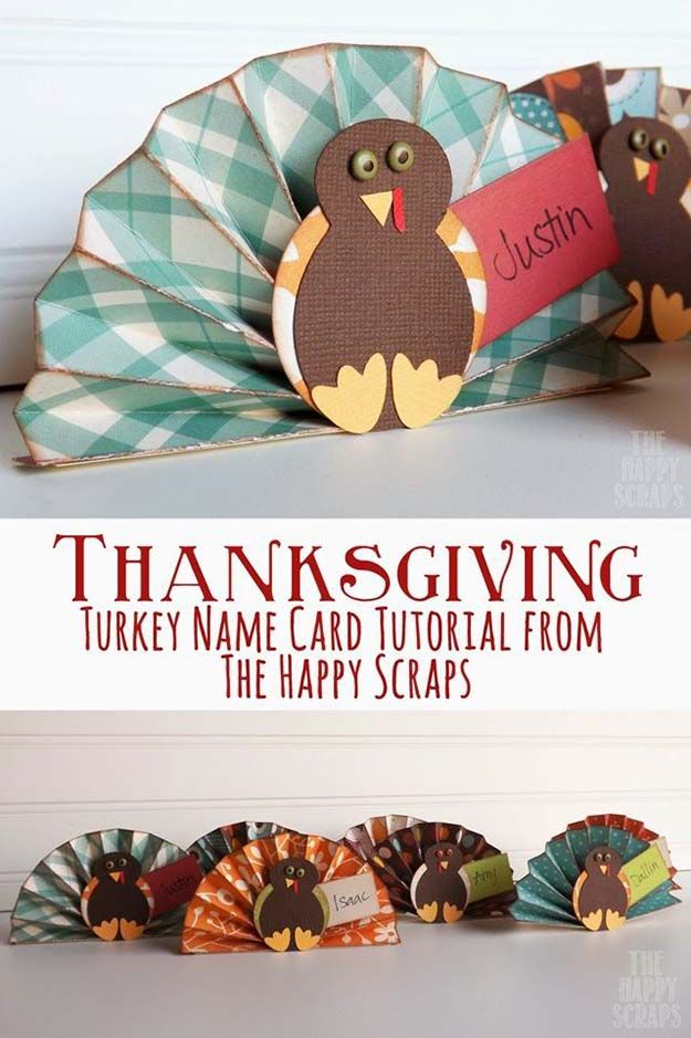 Thnksgiving Turquía Nombre tarjeta Tutorial | 17 de bricolaje de Acción de Gracias Manualidades para adultos, ver más a http://artesaniasdebricolaje.ru/amazingly-falltastic-thanksgiving-crafts-for-adults