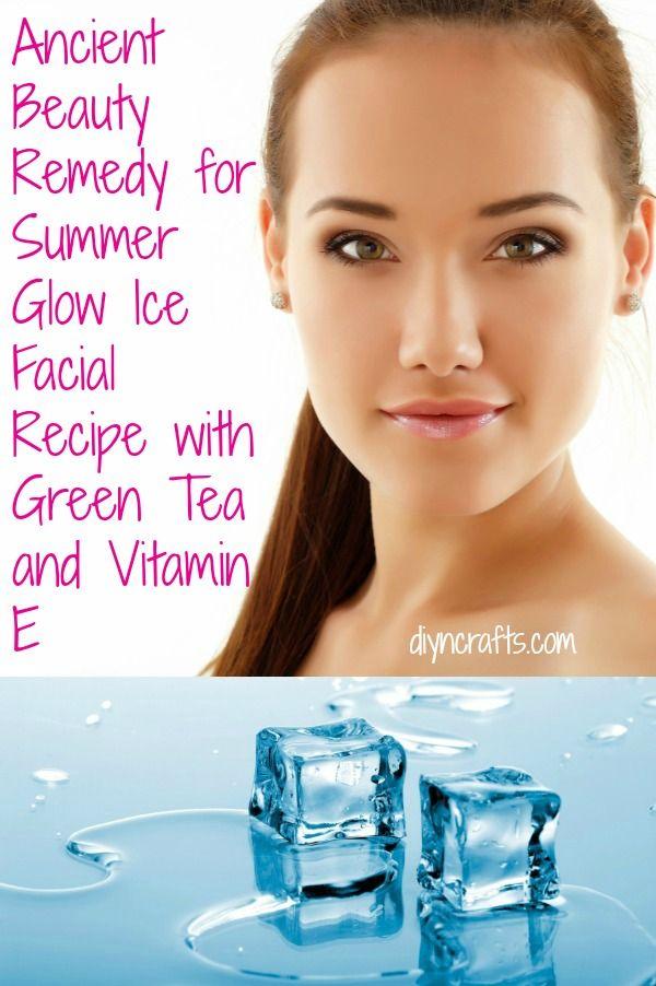 Remedio Antigua Belleza de Glow verano - Hielo Receta facial con té verde y vitamina E