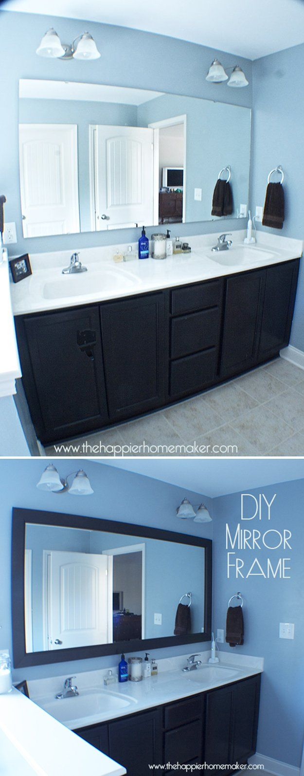 Baño Decoración con espejo Marcos | http: //artesaniasdebricolaje.ru/bathroom-decorating-ideas-on-a-budget/