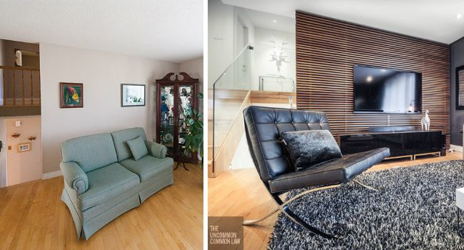 Fotografía - Antes y Después: Un 80 Living Room Rockets Adelante