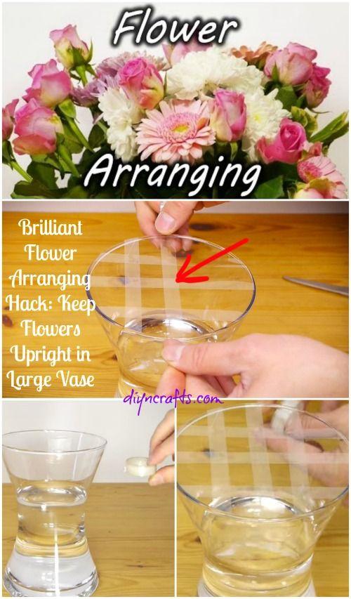 Flor Brillante Arreglar Hack: Mantenga Flores vertical en gran jarrón