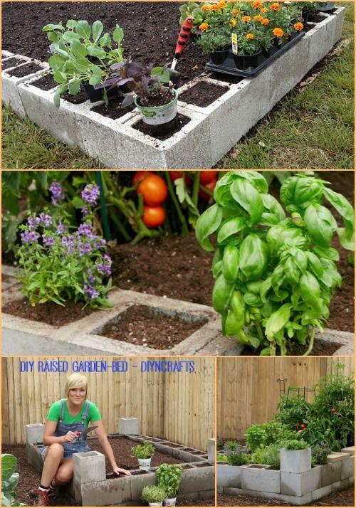 Proyecto de Jardinería Brillante: Cómo hacer un jardín cama levantada mediante bloques de cemento ...