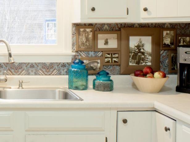 Cocina Blanco Con Tela cubierto Galería de fotos Backsplash