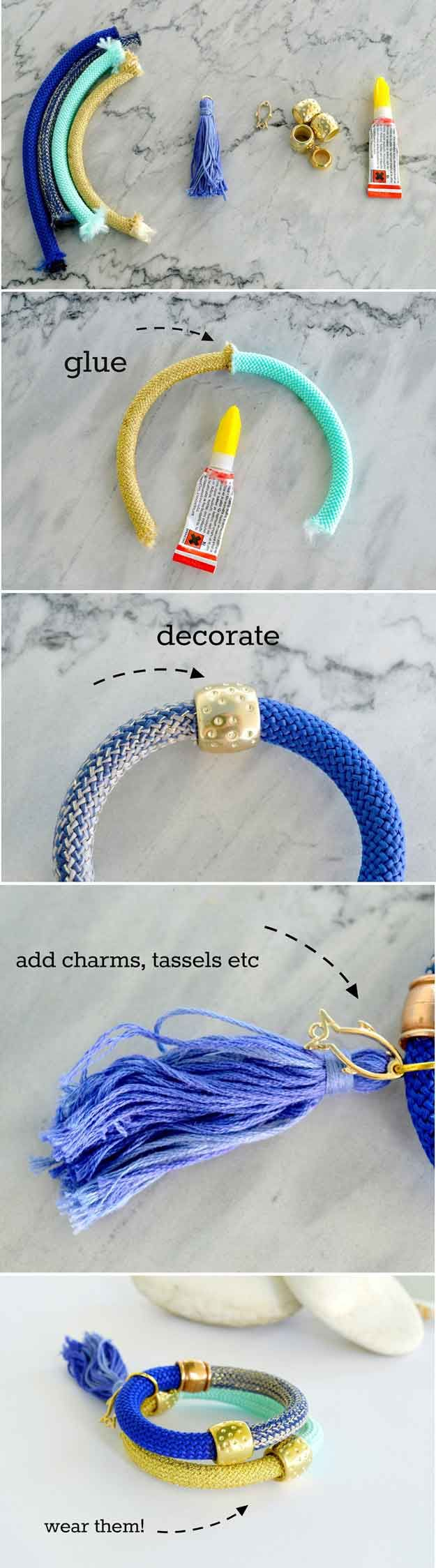 DIY pulseras de moda para niñas | http://artesaniasdebricolaje.ru/cheap-diy-jewelry-projects-for-girls/