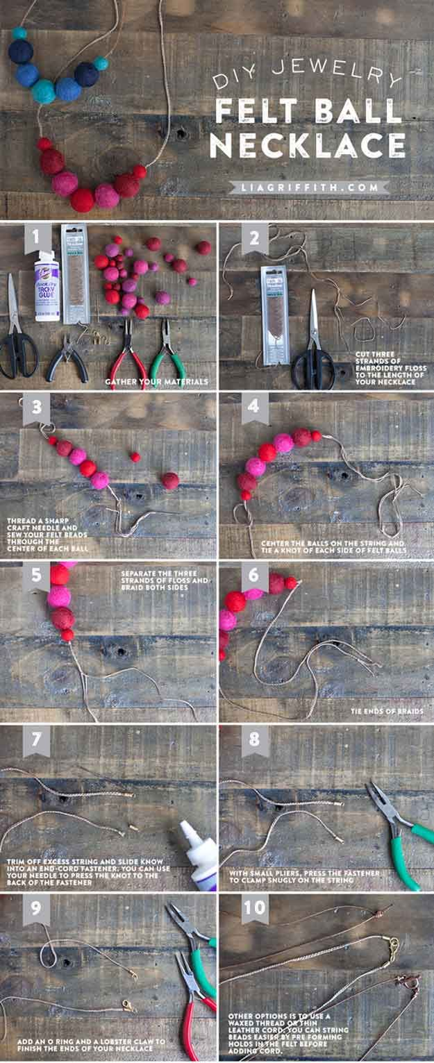 Collar de bricolaje con las bolas de fieltro para niñas | http://artesaniasdebricolaje.ru/cheap-diy-jewelry-projects-for-girls/