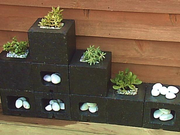 Fotografía - Jardineras hechas con bloques de cemento