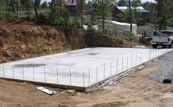 Cimientos de hormigón, cimientos de bloques, Fundaciones Slab