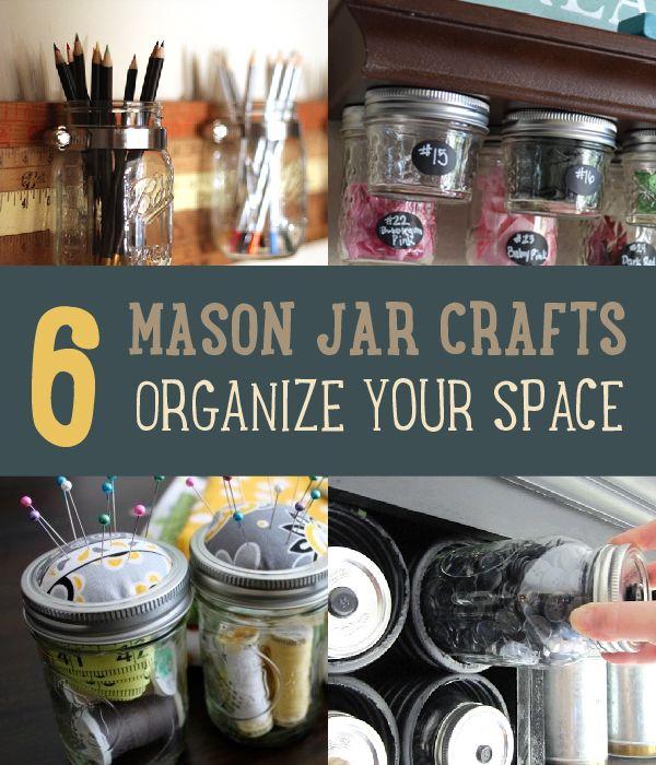 Fotografía - Proyectos del arte con los tarros de albañil | 6 maneras de organizar su espacio