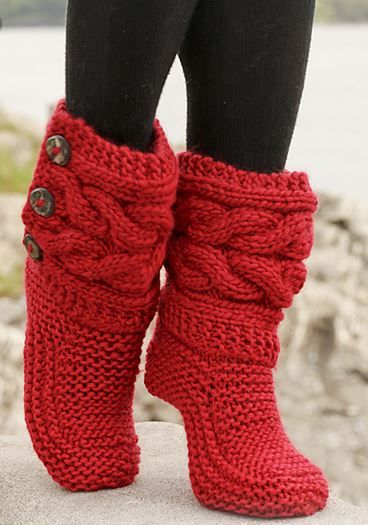 Little Red Riding Zapatillas Por DROPS Design - más lindo de punto DIY: GRATIS Modelo para Botas Slipper Cozy
