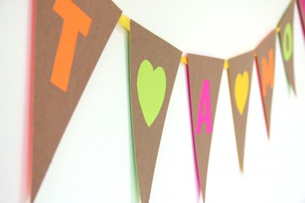 DIY neón y Kraft Recortable Bunting