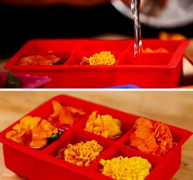 Ideas congelados DIY divertido y fácil de comestibles de flores | artesaniasdebricolaje.ru/diy-flower-ice-cubes/