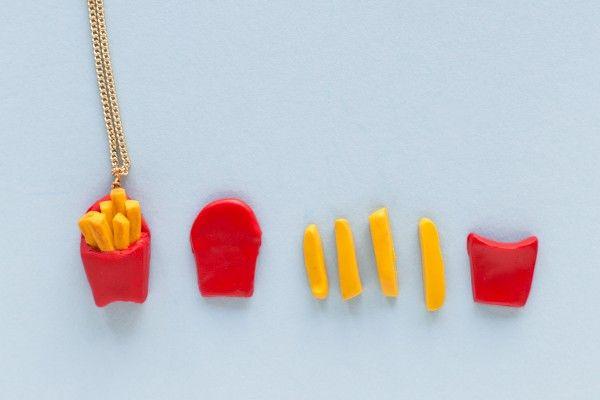 Collares Amistad DIY hamburguesa y papas fritas