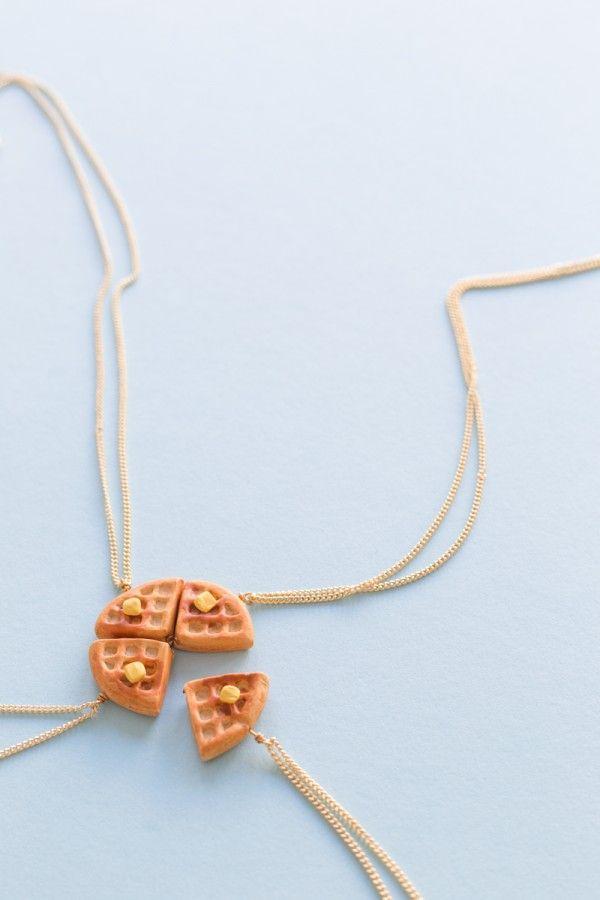 DIY Waffle Amistad Collares