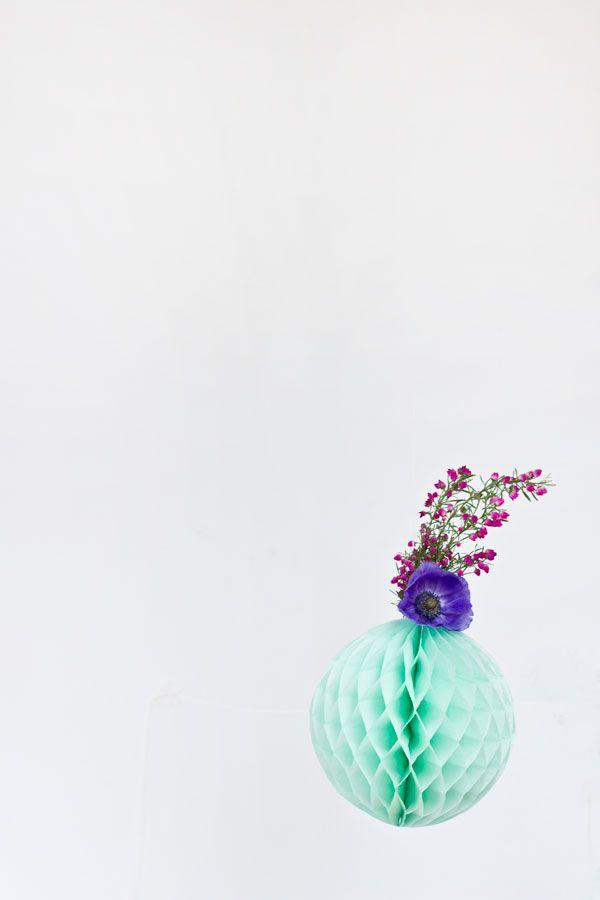 DIY flor fresca Honeycomb Party Decor