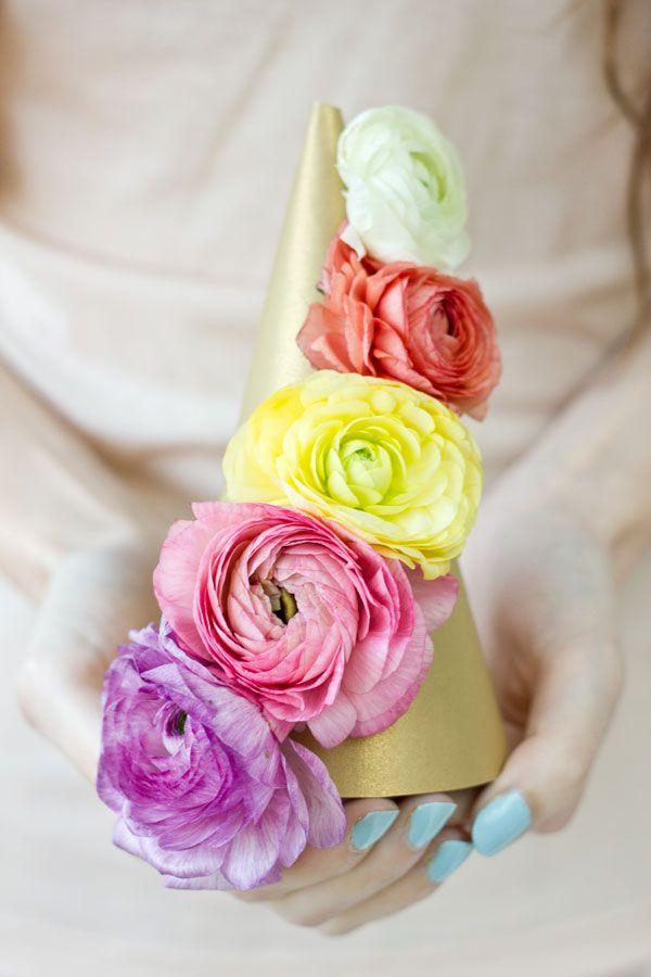 DIY sombreros de fiesta de la flor fresca