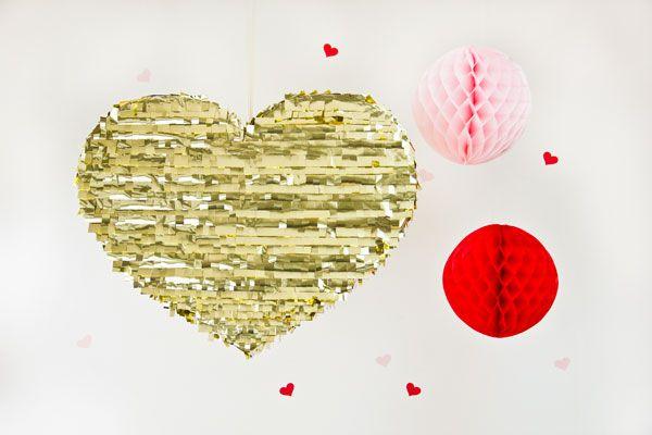 Día de San Valentín DIY Oro Mylar Corazón Piñata
