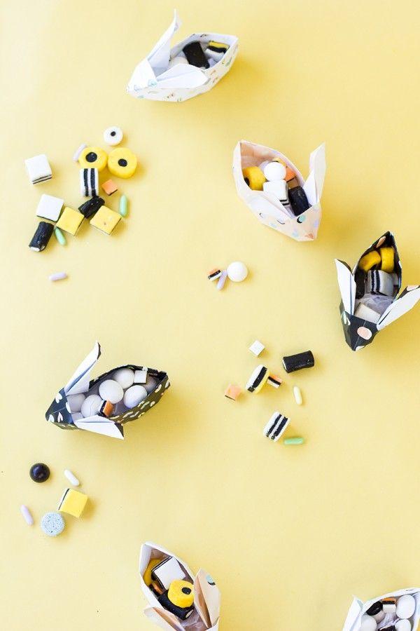 Bricolaje Cestas Origami conejito de Pascua (Libre para imprimir!)