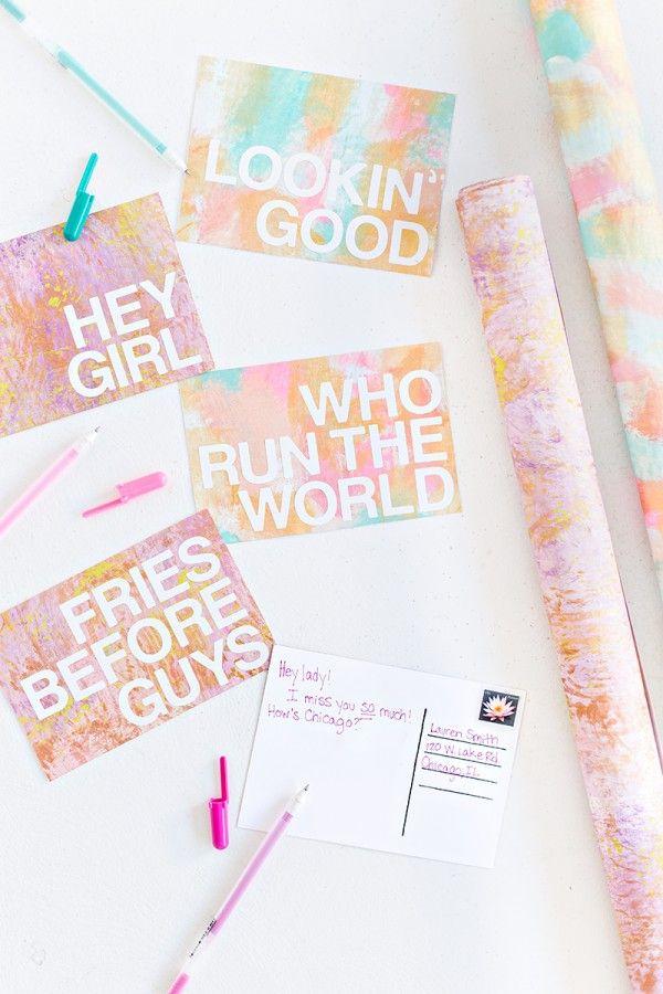 DIY Patterned Postales Mensajes
