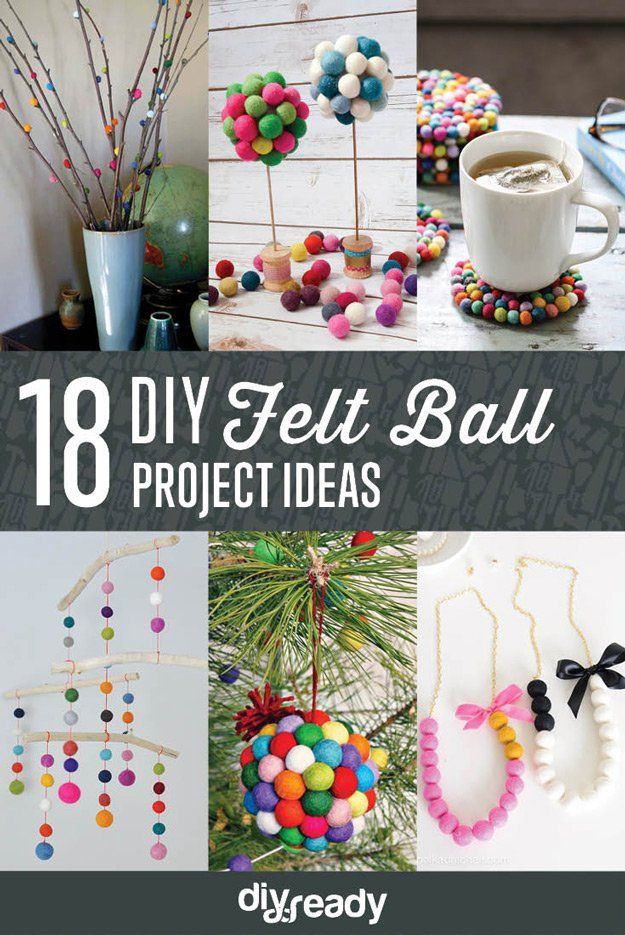 DIY fieltro Bola Ideas de Proyectos | http://artesaniasdebricolaje.ru/diy-projects-with-felt-balls/