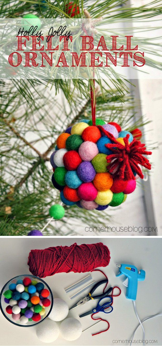 Colgar fácilmente Felt Bola Decoración y ornamento Tutorial | http://artesaniasdebricolaje.ru/diy-projects-with-felt-balls/