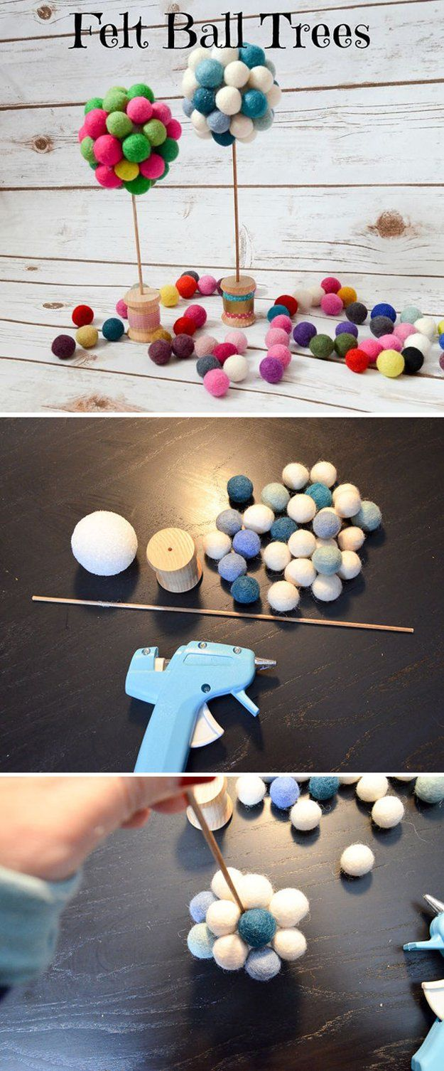 DIY fieltro Bola Ideas de decoración | http://artesaniasdebricolaje.ru/diy-projects-with-felt-balls/