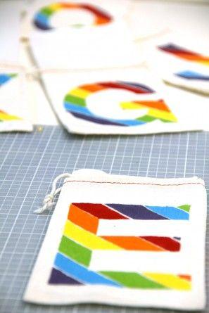 DIY del monograma del arco iris Bolsas Tratar con Congelador Plantillas