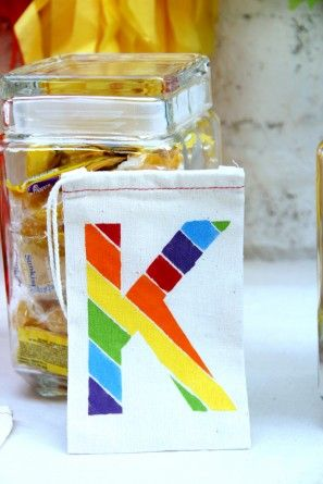 DIY del favor del arco iris Bolsas