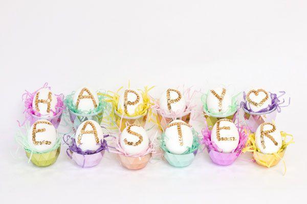 DIY Lentejuela Huevos de Pascua
