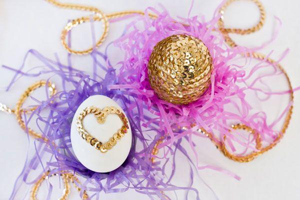 DIY Lentejuela Corazón Huevos de Pascua