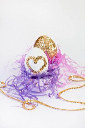 Lentejuela Corazón Huevos de Pascua de bricolaje
