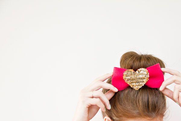 DIY Lentejuela Corazón Lazo para el cabello