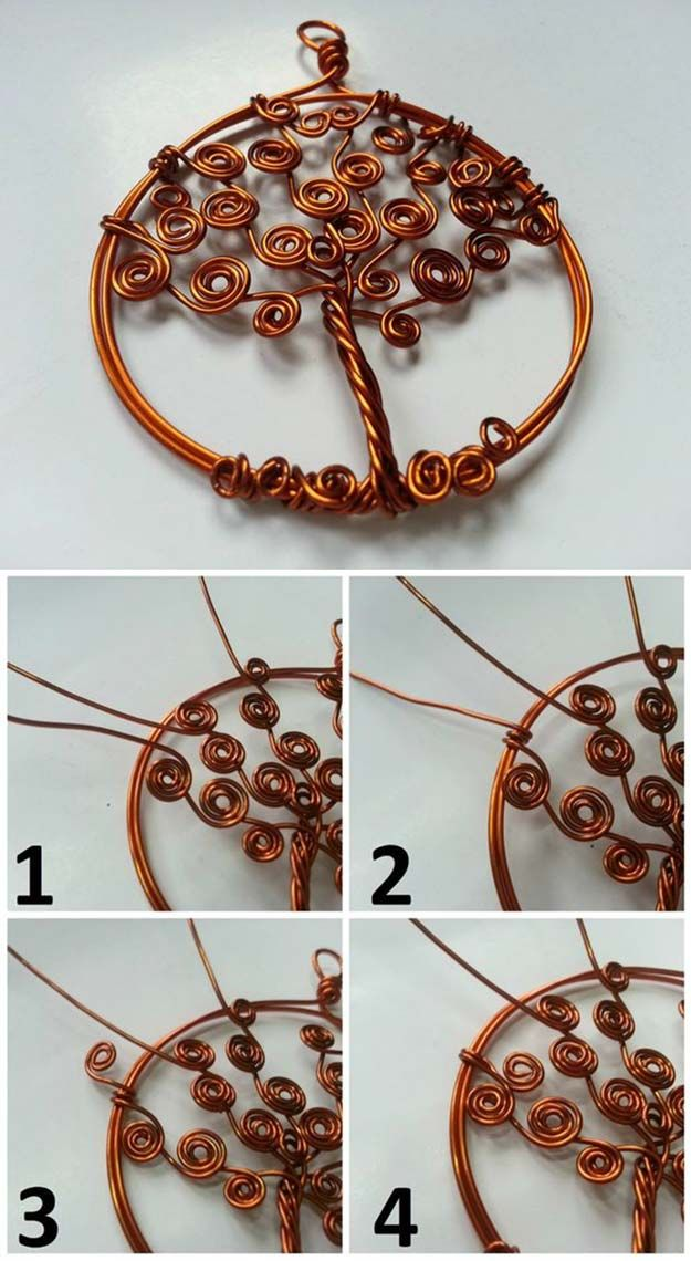 Árbol de la vida colgante Ideas y Proyectos | http://artesaniasdebricolaje.ru/12-diy-tree-of-life-ideas/
