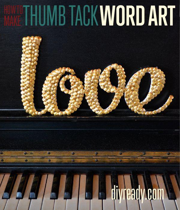Dollar Store Crafts | Cómo hacer arte de la palabra Usando tachuelas de pulgar