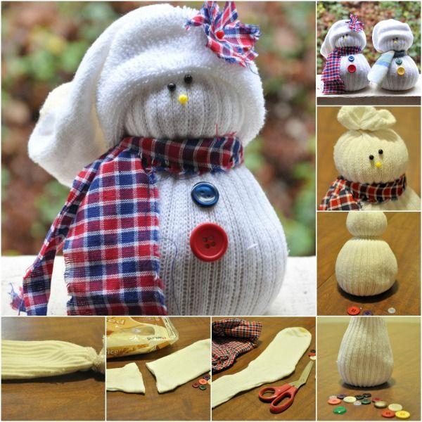 Fácil y linda decoración de invierno: Encanto DIY calcetín muñecos de nieve