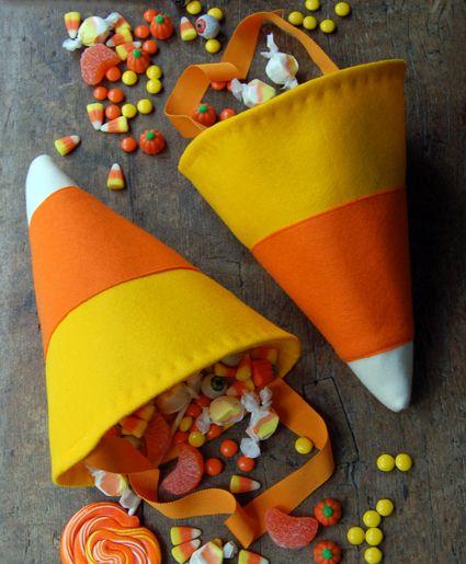 DIY Bolsas Candy Corn Tratar para Halloween