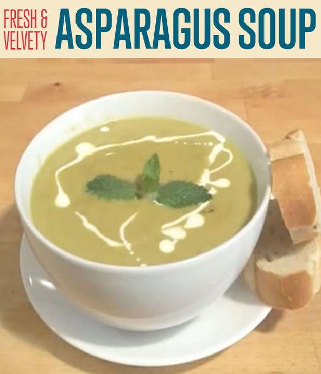 Receta fresca y aterciopelada Espárragos sopa