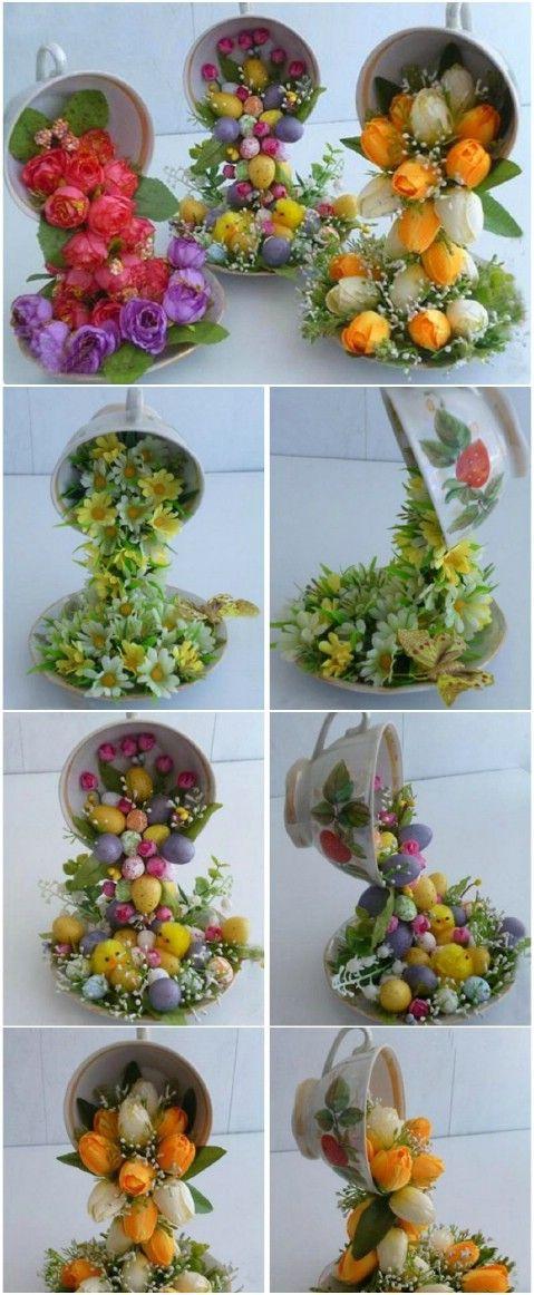 Volar Tazas de té de flores