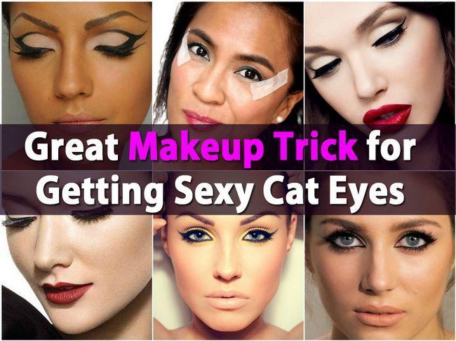 Gran truco de maquillaje para la Obtención de los ojos de gato atractivo Uso Scotch Tape