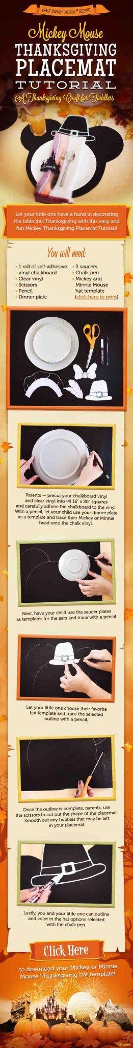 Mickey Mouse de Acción de Gracias Placemat Tutorial | 14 Manteles DIY para Acción de Gracias, échale un vistazo a http://artesaniasdebricolaje.ru/homemade-thanksgiving-decorations-14-diy-placemat-ideas