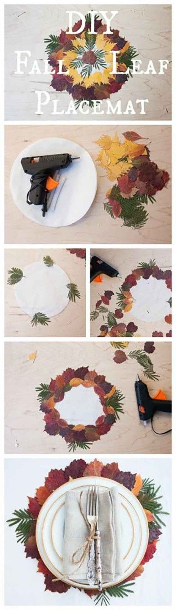 Placemat DIY Con Caída Actual hojas | 14 Manteles DIY para Acción de Gracias, échale un vistazo a http://artesaniasdebricolaje.ru/homemade-thanksgiving-decorations-14-diy-placemat-ideas