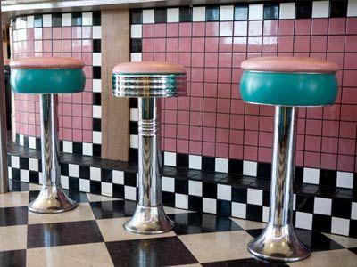 baldosas de cerámica en la fuente de soda