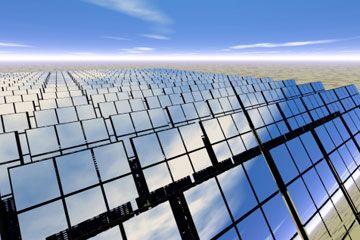 granja de paneles solares en el desierto