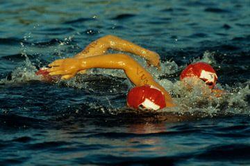 Dos personas que nadan en el lago Sammamish, Washington.