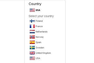 captura de pantalla de Spotify's country list