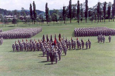 El equipo de combate de segunda Brigada está en la formación en el Campamento Casey en Tongduchon, Corea.