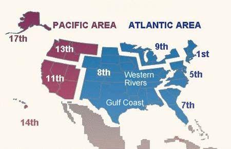 Este mapa muestra la ubicación de los nueve distrincts de los comandos del Atlántico y del Servicio de Guardacostas del Pacífico.