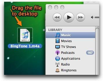 Una vez que el archivo se convierte a la versión AAC genera un archivo .m4a. Arrastre el archivo en el escritorio (o cualquier otro lugar que usted prefiera).