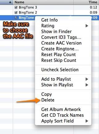 Antes de seguir adelante debe eliminar la versión AAC del archivo que está en tu iTunes.